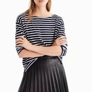 J Crew Pleated Short Faux Leather Skirt